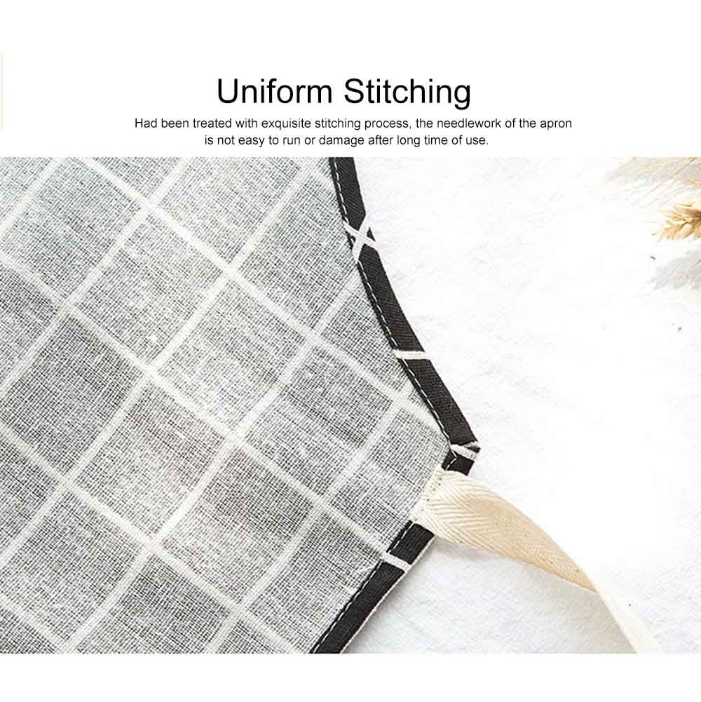 Minimalist Fashion Plaid Cooking Kitchen Cotton Apron Waterproof Dust-proof Adjustable Adult Waist Cloth with Pocket Aprons 5