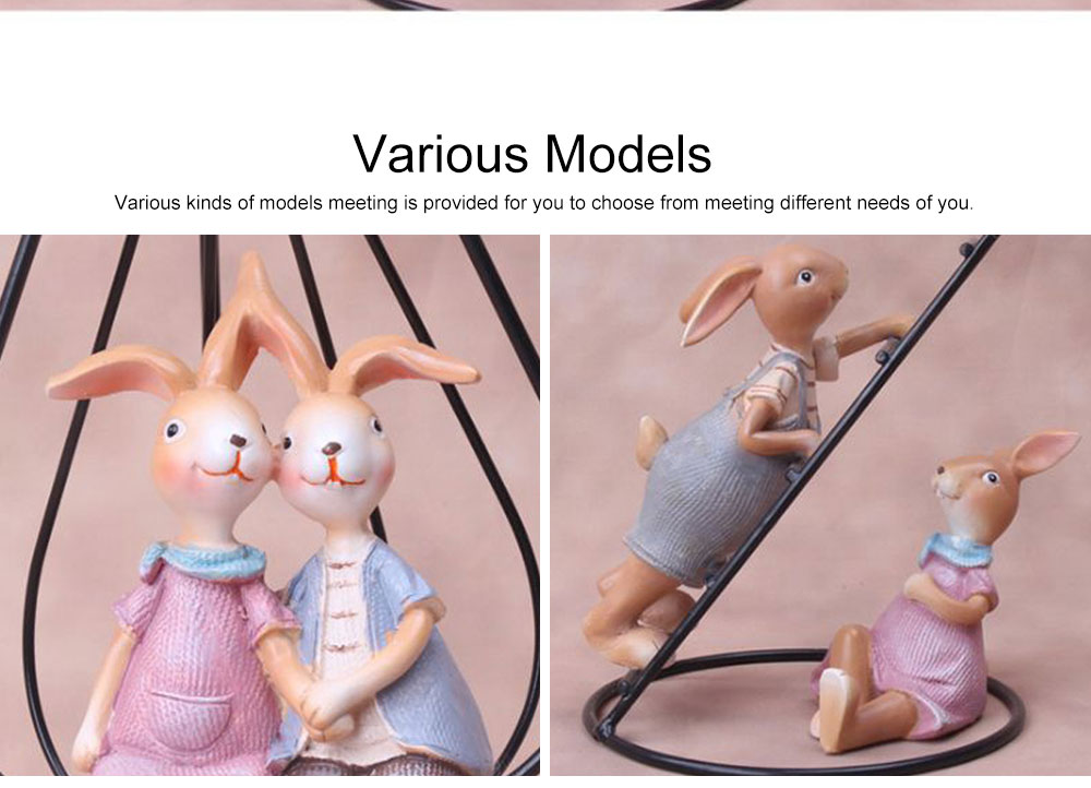 Creative Cute Delicate Rabbit Resin Metal Ornament Breaking-proof Bunny Living Room Study Table Decoration 7
