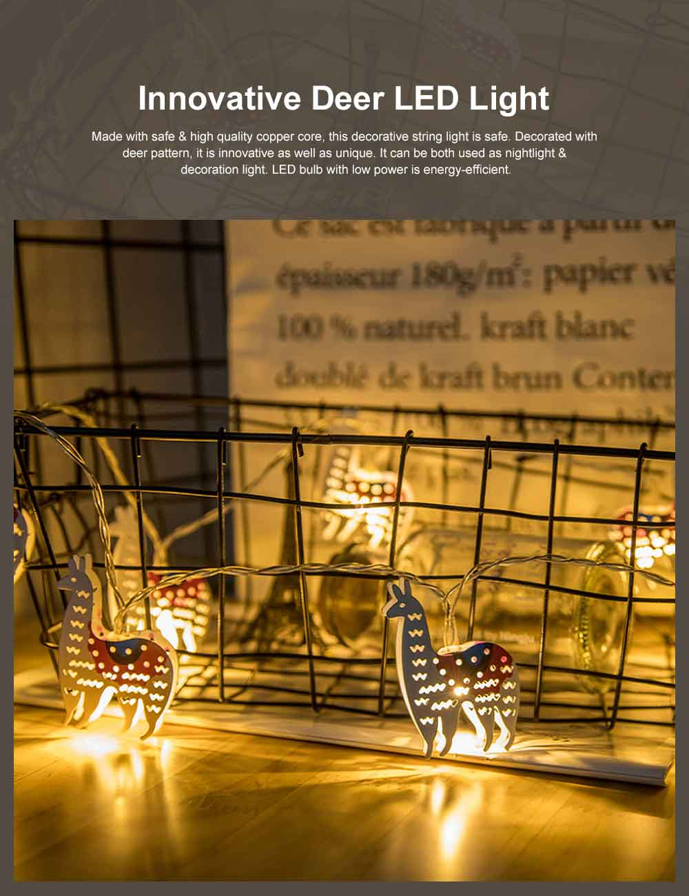 Innovative Deer LED Light Power-Saving Cute Nightlight High Brightness Decoration String Light for Holiday Party Wedding 0