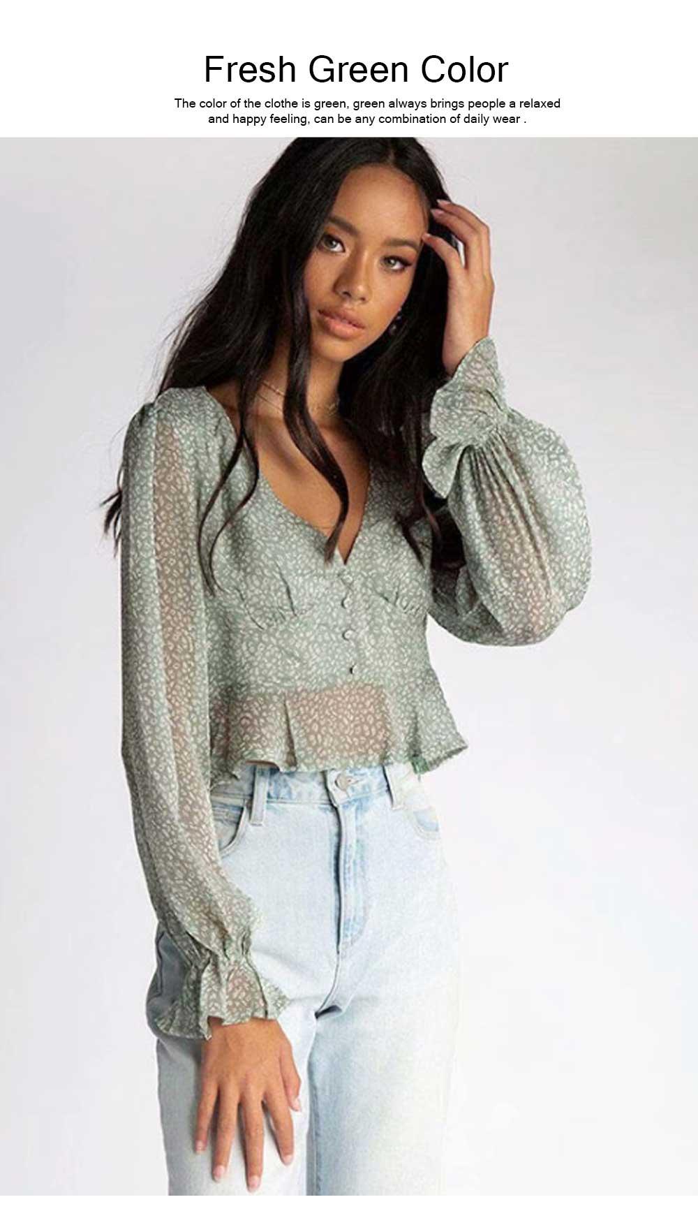 Lady Chiffon Shirt Deep-v Collar Flapper Tops Garment Design Long Sleeve Green Georgette Clothe for Women 5