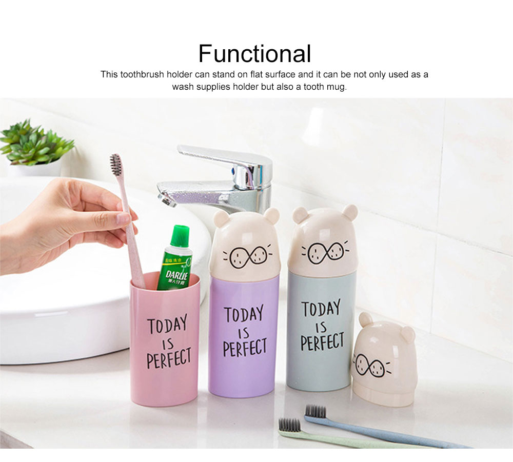 Cute Carton Portable Travel Toothpaste Toothbrush Holder, Breaking-proof PP Outdoors Toiletries Storage Case Cup 5