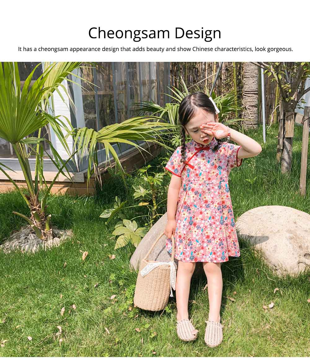 Girls Cheongsam Floral Print Retro Style Short-sleeve Skin-friendly Breathable One-piece Dress Summer 2