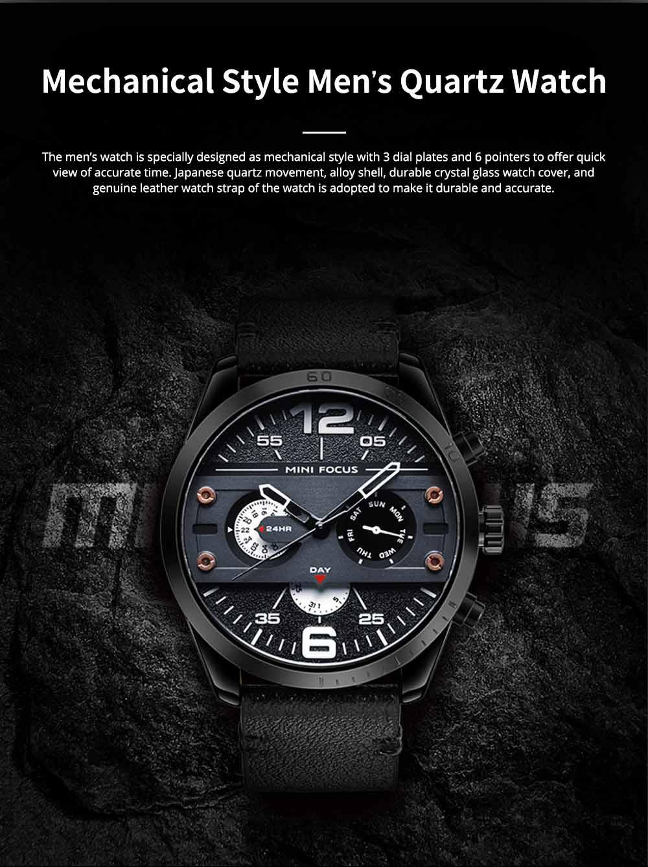 Mechanical Style Men's Quartz Watch Waterproof Businessman Watch Fashion Accessory 3 Dial Plates 6 Pointers Wrist Watch 0