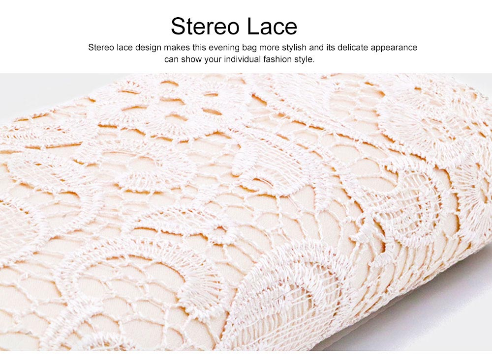 Delicate Elegance Stereo Lace Ladies Shoulder Evening Bag Skin-friendly Stain Polyester Cosmetic Hand Bag for Socialite Women 5