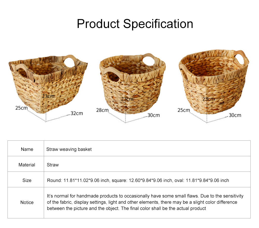 Creative Minimalist Garden Straw Weaving Flower Basket, Delicate Rattan Weaving Storing Basket Decoration with Double Handle 11