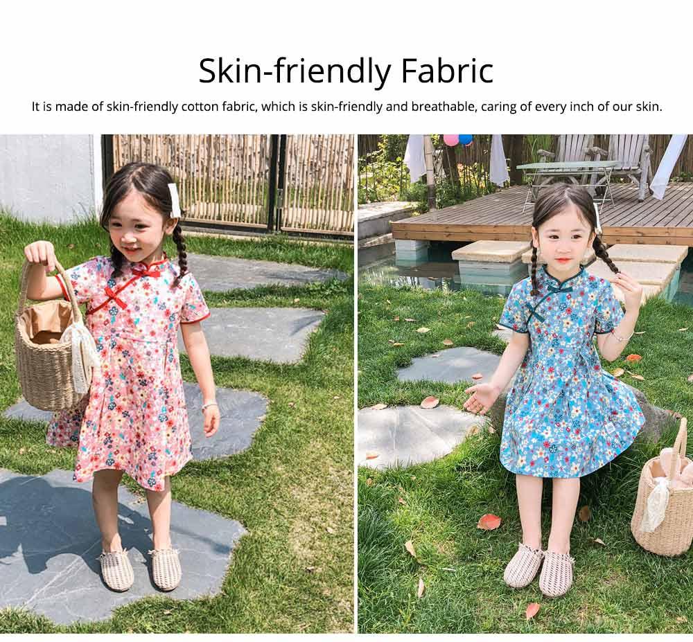 Girls Cheongsam Floral Print Retro Style Short-sleeve Skin-friendly Breathable One-piece Dress Summer 5