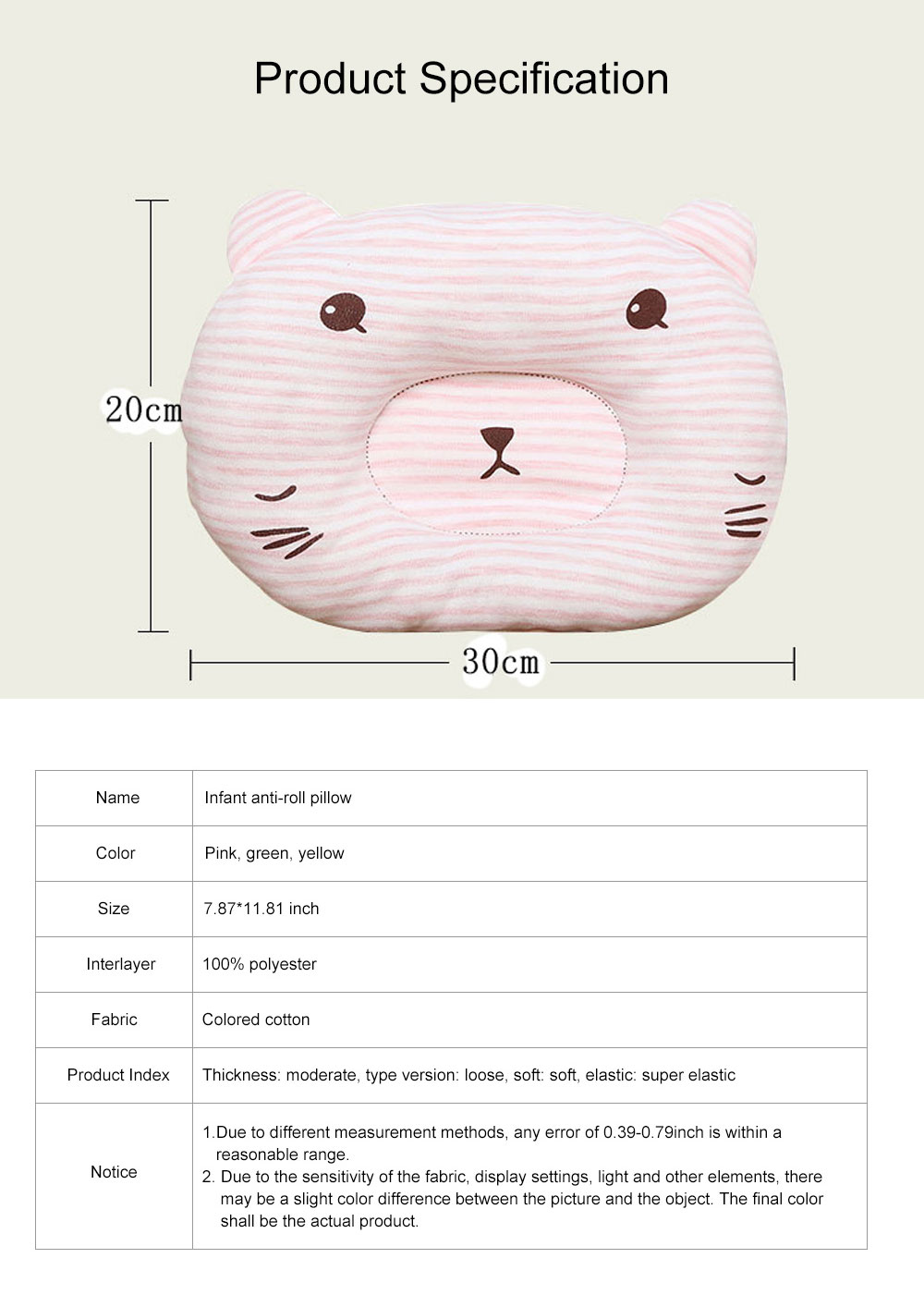 Cute Bear Model Anti-Roll Newborn Infant Pillow Skin-friendly Breathable Colored Cotton Prevent Flat Head Baby Sleep Cushion 7