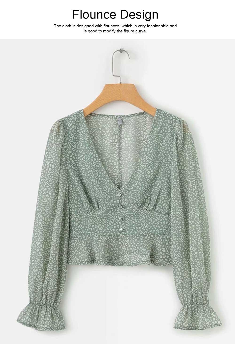 Lady Chiffon Shirt Deep-v Collar Flapper Tops Garment Design Long Sleeve Green Georgette Clothe for Women 4