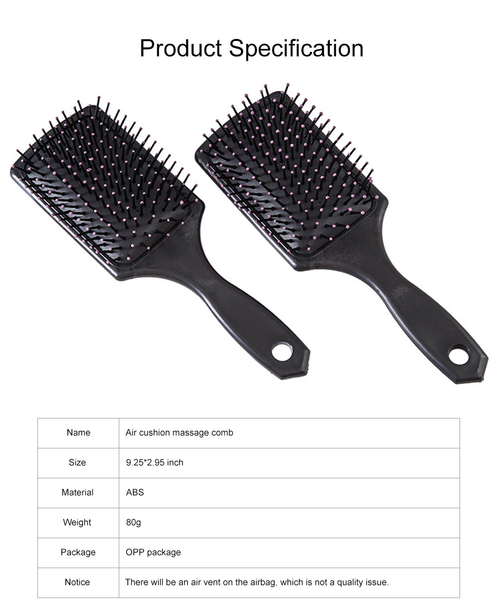 Minimalist Large Rectangle Air Cushion Massage Comb Professional Airbag Anti-static Hairbrush for Curly Hair 6