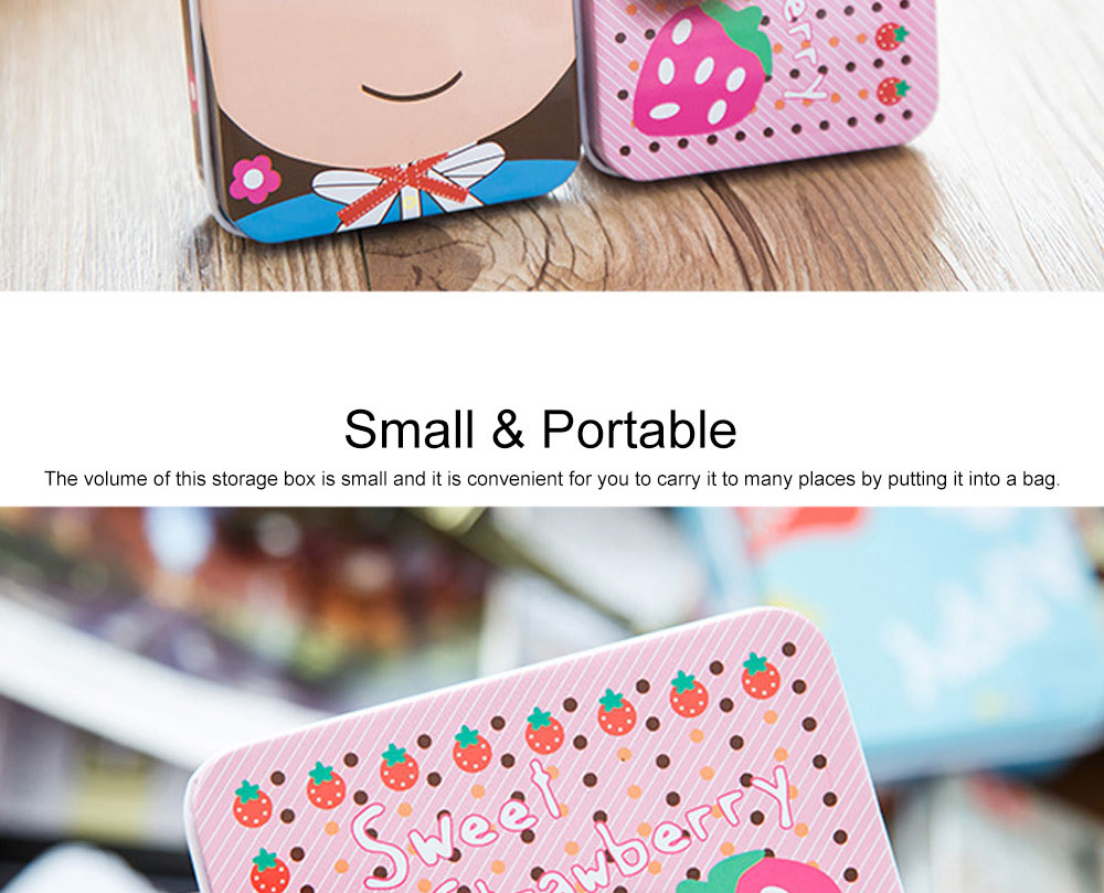 Cute Carton Painting Portable Mini Tinplate Storage Box, Breaking-proof Rust-proof Iron Jewelry Candy Small Object Storing Case 4