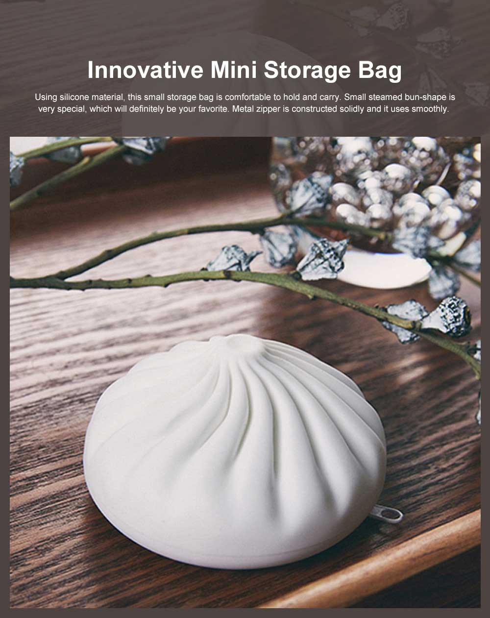 Innovative Mini Storage Bag Silicone Portable Small Steamed bun-Shape Purse Chinese Style Small Gift 0