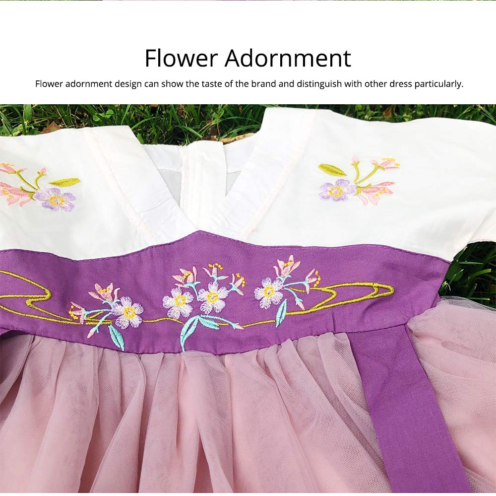 Han Chinese Clothing for Girls V Collar Flower Adornment Ribbon Chinese Characteristics Skin-friendly and Comfortable Dress 3
