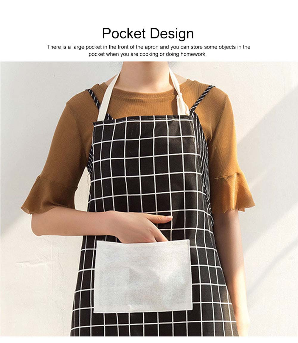 Minimalist Fashion Plaid Cooking Kitchen Cotton Apron Waterproof Dust-proof Adjustable Adult Waist Cloth with Pocket Aprons 4