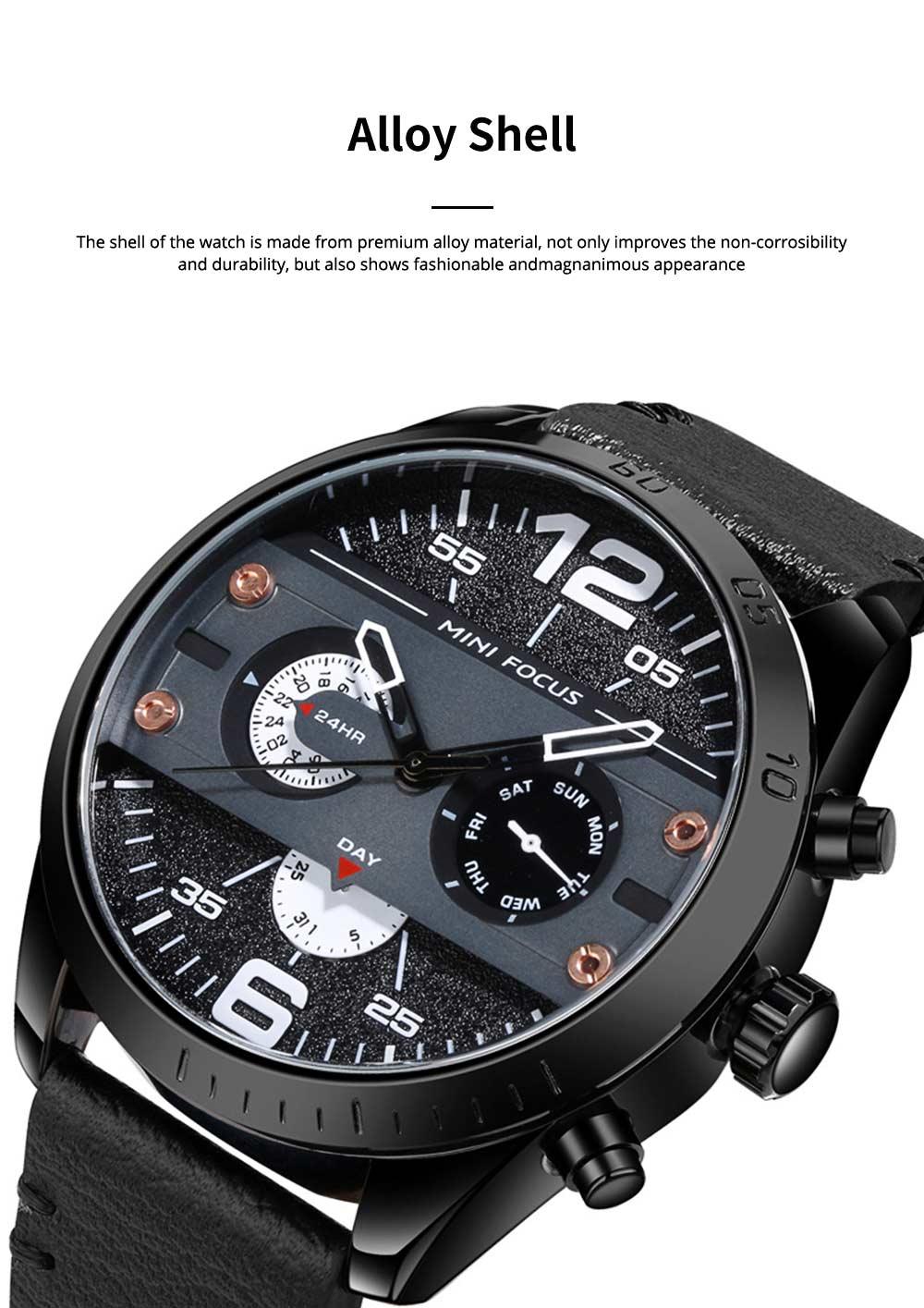 Mechanical Style Men's Quartz Watch Waterproof Businessman Watch Fashion Accessory 3 Dial Plates 6 Pointers Wrist Watch 3