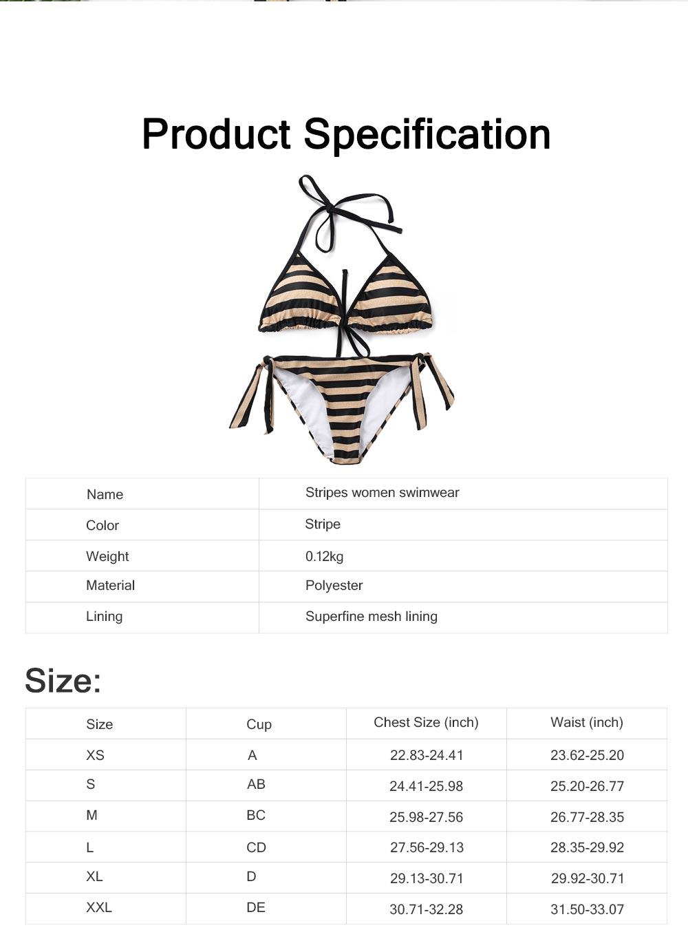 Delicate Minimalist Stripes Pattern Ladies Swimsuit Bikini Elastic Skin-friendly Sexy Lace-up Swimwear for Ladies 6