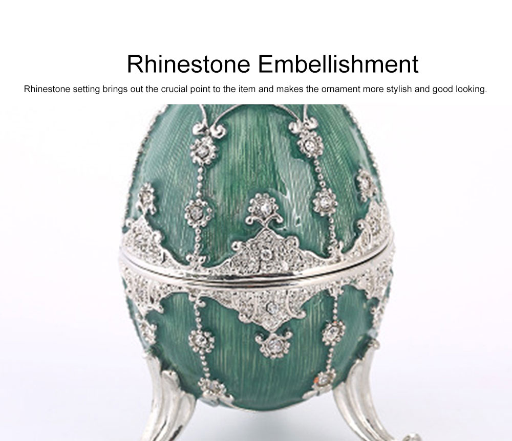 Delicate Green Blue Colored Painting Rhinestone Decorative Ornament Quality Easter Egg Decoration Model Jewelry Storing Box 3