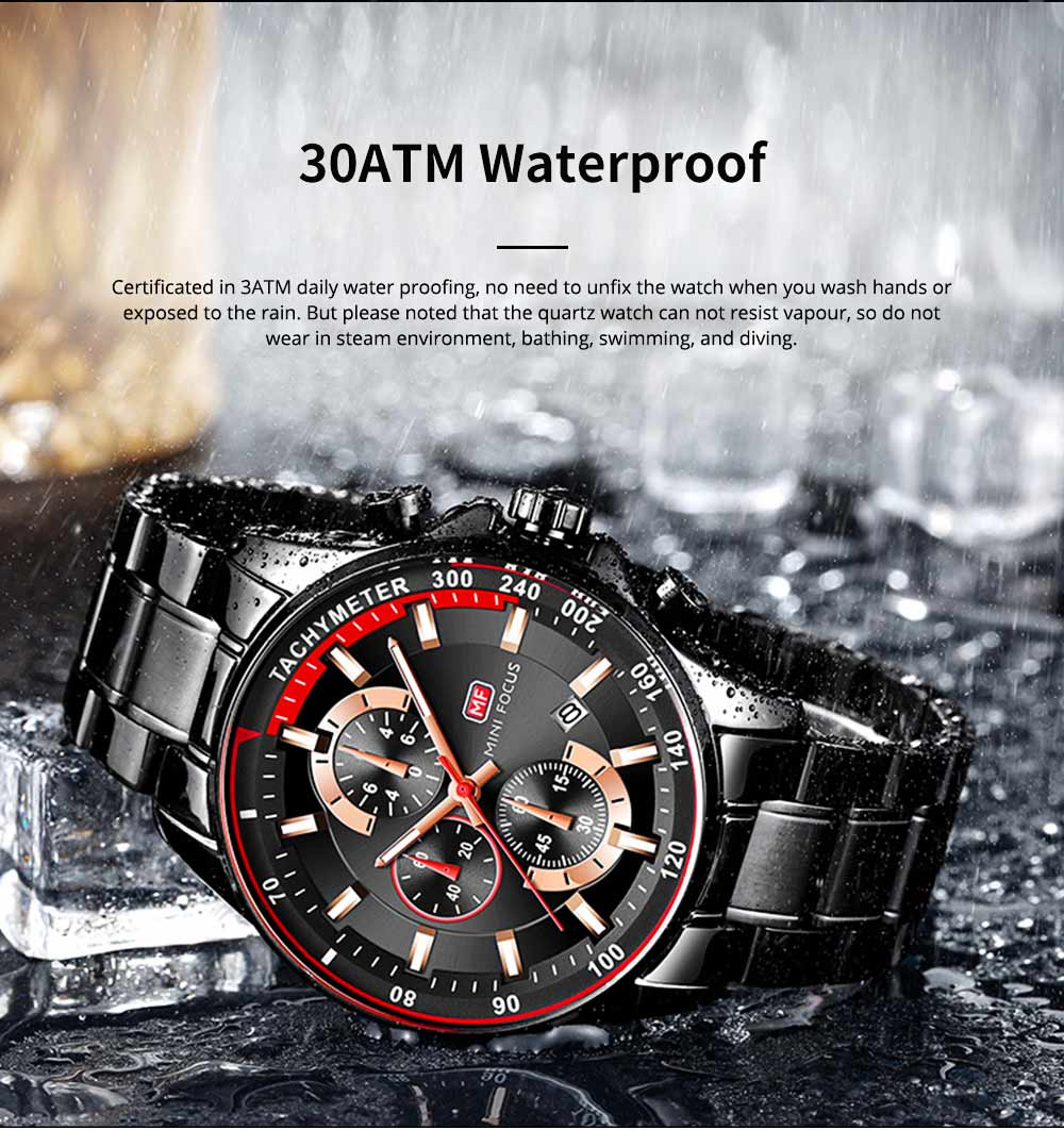 Speed Gauge Watch with Three Index Dial Calendar Men's Waterproof Luminous Quartz Watch with Stain Steel Watch Band 5