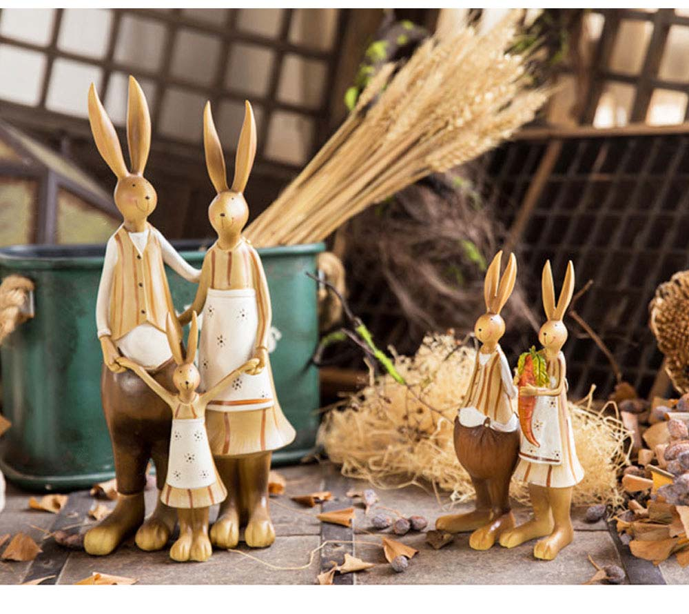 Creative Cute Rabbits Model Family Three Resin Ornament, Delicate Colored Drawing Bunny Weeding Celebration Table Decoration 2