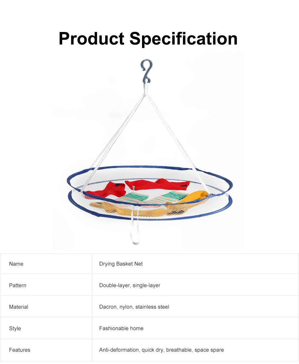 Foldable Drying Basket Hanging Net Retractable Drying Rack for Clothes, Underwear, Bra, Socks, Sweaters, Single, Double-Layer Drying Basket Net 6
