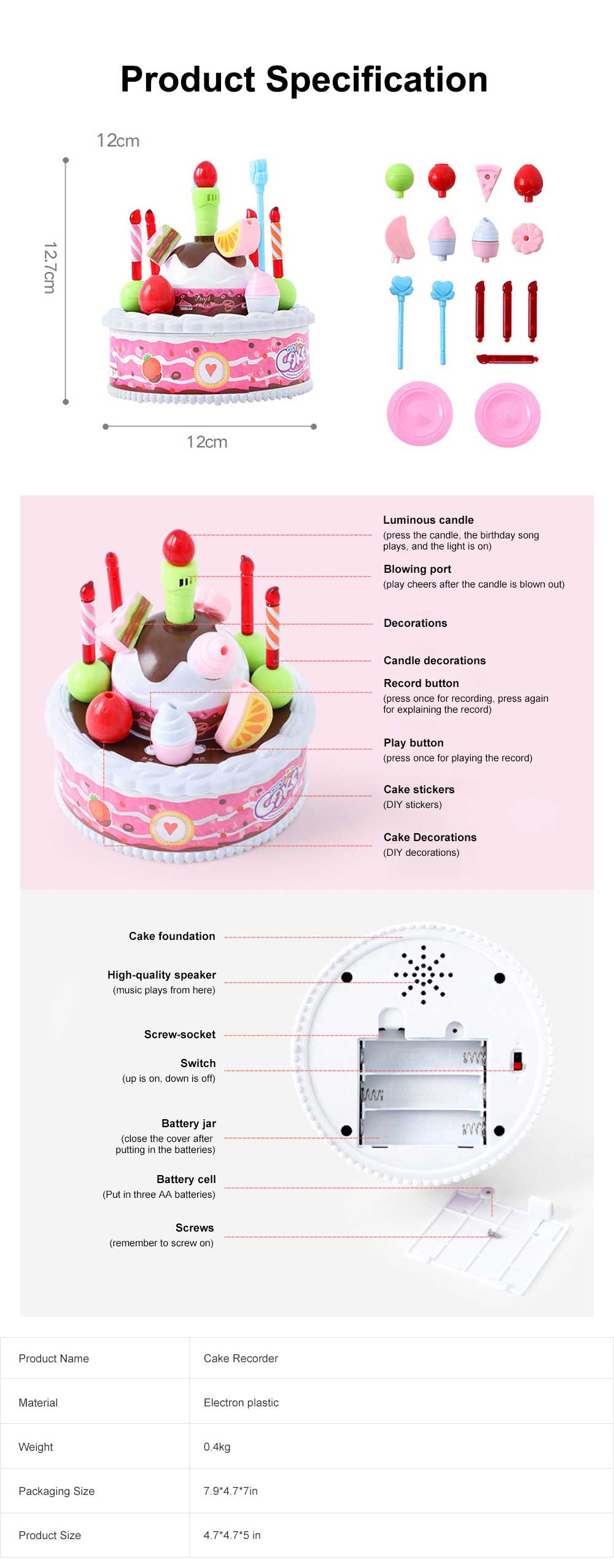 Birthday Cake Toy for Children & Kids, DIY Birthday Cake Model with Sound Recorder Function Birthday Present Gift 6