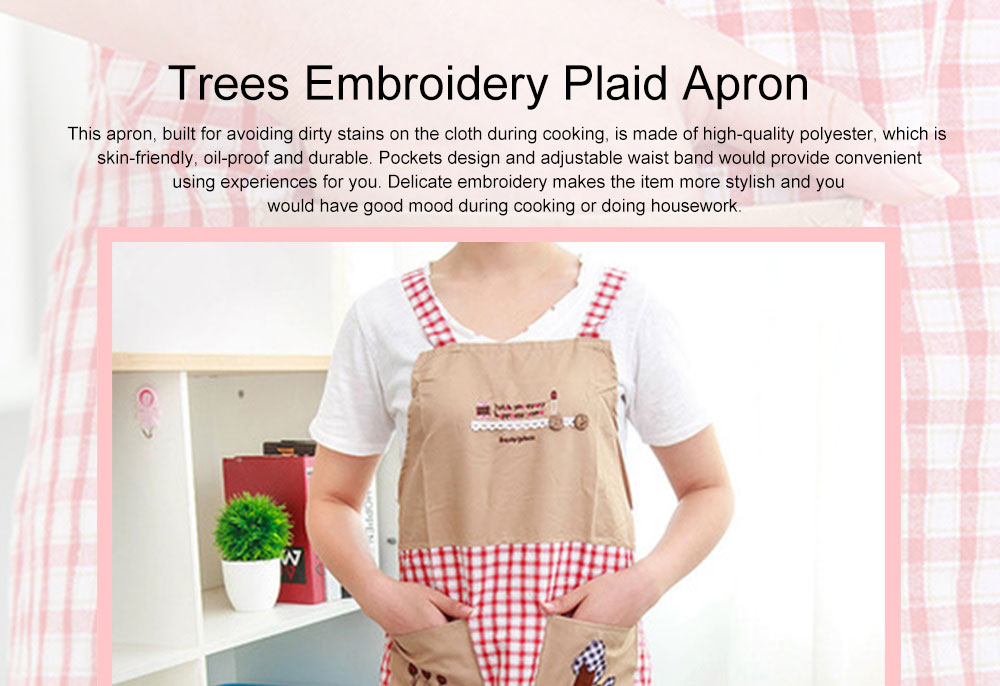 Cute Trees Embroidery Plaid Women Men Apron Dress, Home Kitchen Restaurant Antifouling Adjustable Apron with Pockets 0