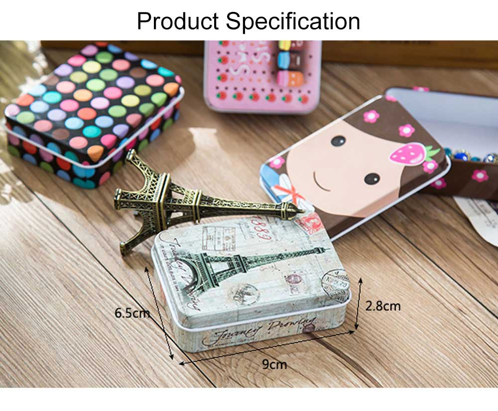 Cute Carton Painting Portable Mini Tinplate Storage Box, Breaking-proof Rust-proof Iron Jewelry Candy Small Object Storing Case 8