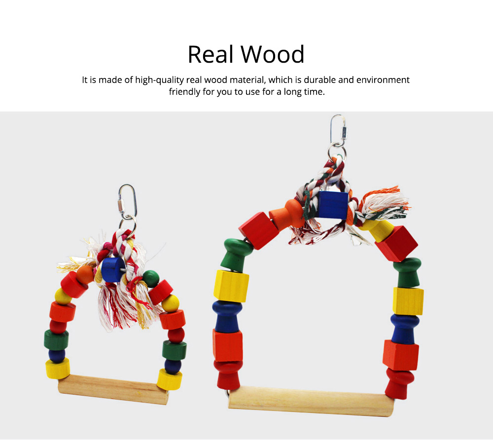 Solid Wood Climb Frame for Parrot Colorful Strap Round Pet Supplies, Safe Non-toxic Iron Ring Real Wood Pet Toys 6