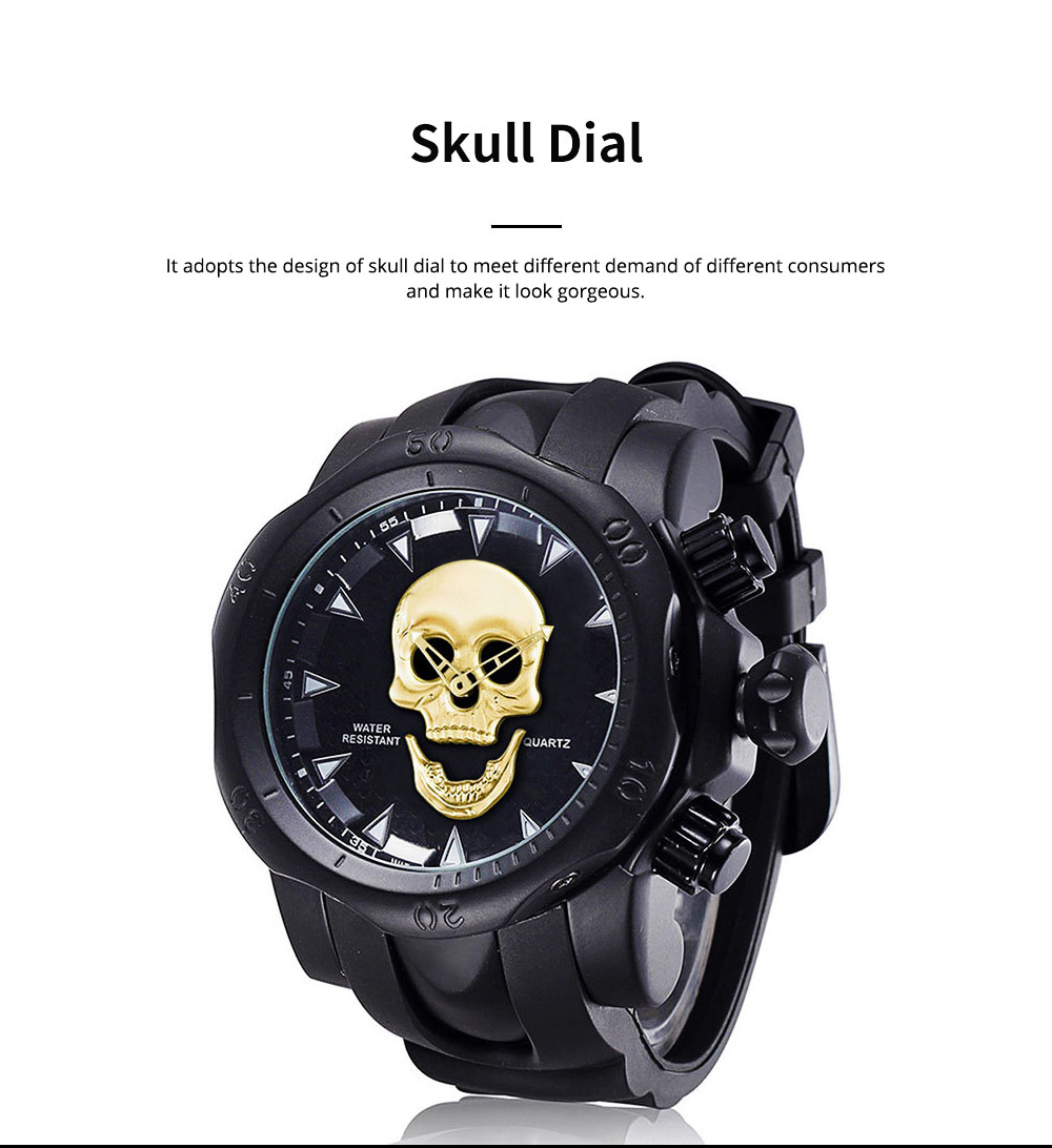 Skull Wrist Watch for Men Rotatable Circle Rubber Strap Contracted Pin Buckle Stainless Steel Sturdy and Durable Personality Watch 1