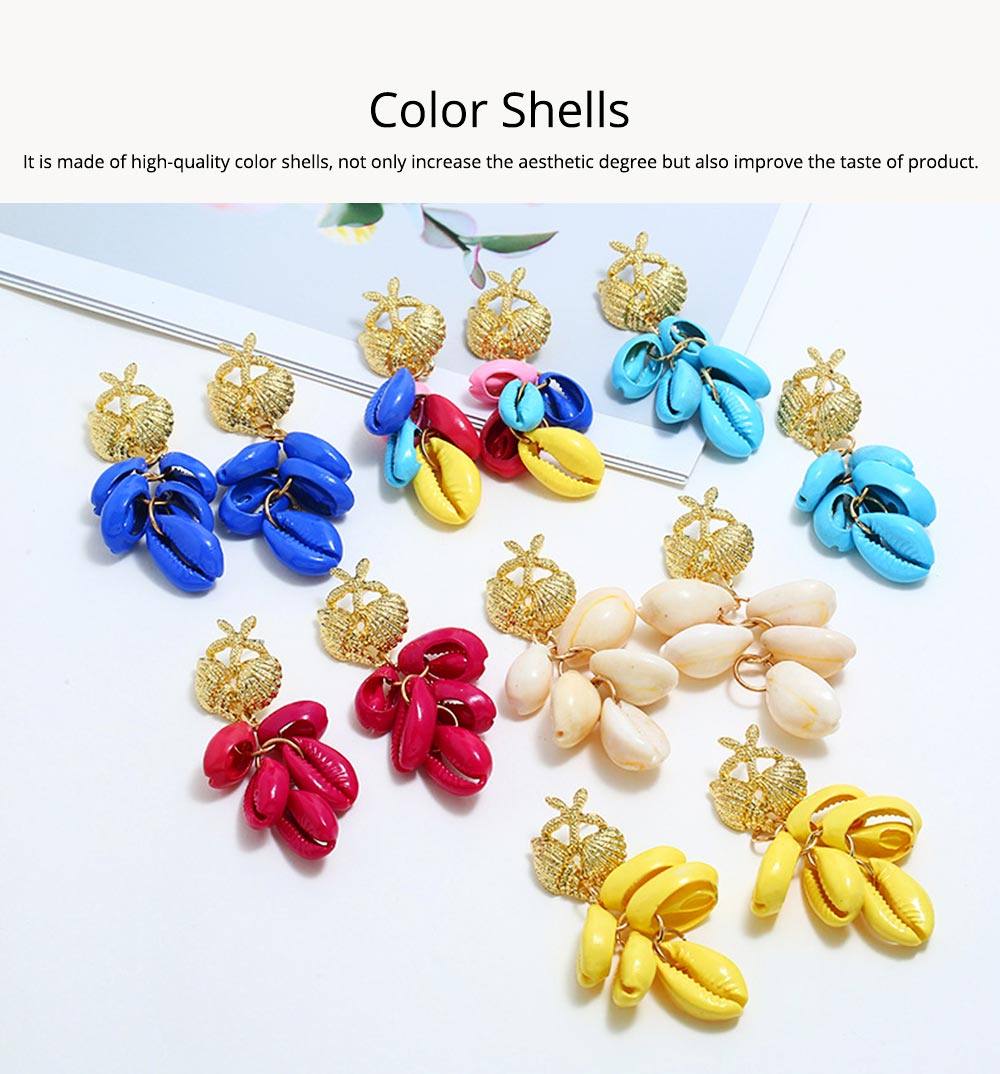 Cluster Shell Earrings for Women Marine Top Decoration Environment Friendly Color Shells Ear Stud, Western Style Pendant 5