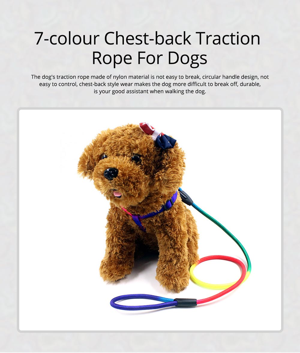 7-colour Chest Back Traction Rope For Dogs Round Dog Chain Pet Products 0