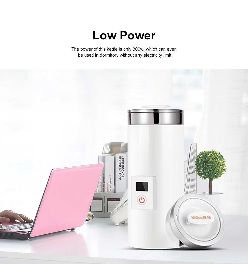 Portable Electric Kettle Cup Stainless Steel Water Boiler Durable Silicone Ring One Key Operation Coffee Milk Heating Container 3