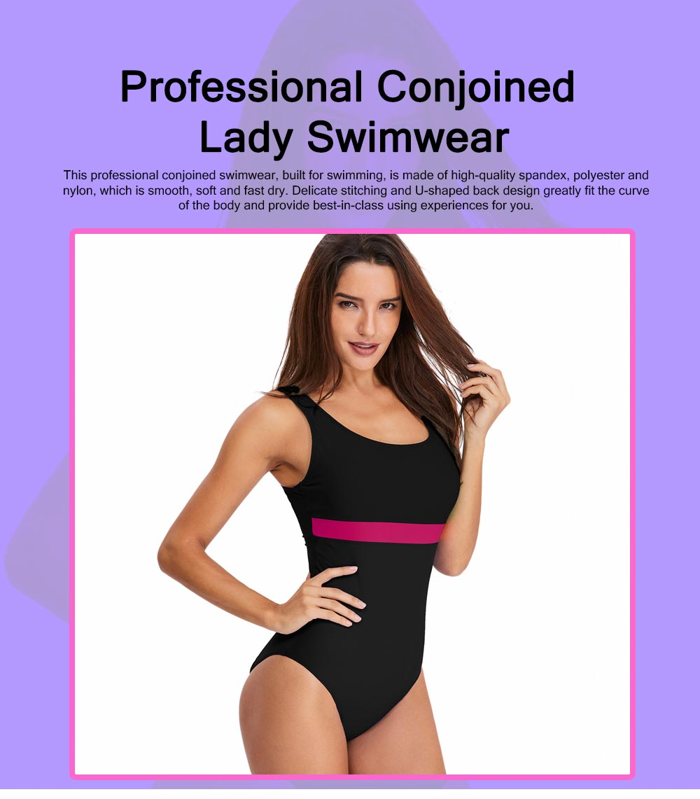 Professional Sexy Contrast Colored Stripes Conjoined Ladies Swimwear Minimalist Detachable Pads Smooth Swimsuit for Women 0
