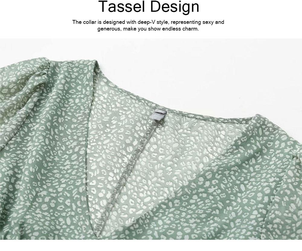 Lady Chiffon Shirt Deep-v Collar Flapper Tops Garment Design Long Sleeve Green Georgette Clothe for Women 3