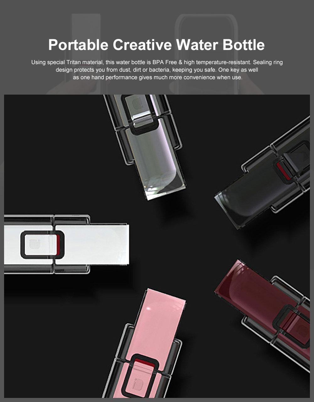 Portable Creative Transparent Water Bottle for Running Walking Hiking, Food Grade BPA Free PC Multifunctional Hand Bottle 0