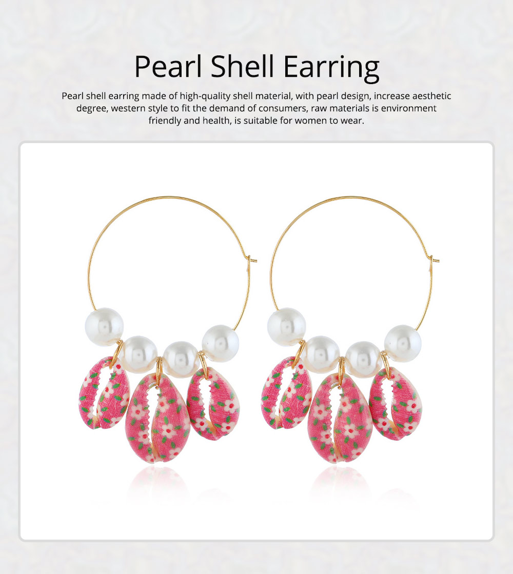 Pearl Shell Earring for Women Western Style Roundness Multicolor Optional Environment Friendly Ear Stud 0