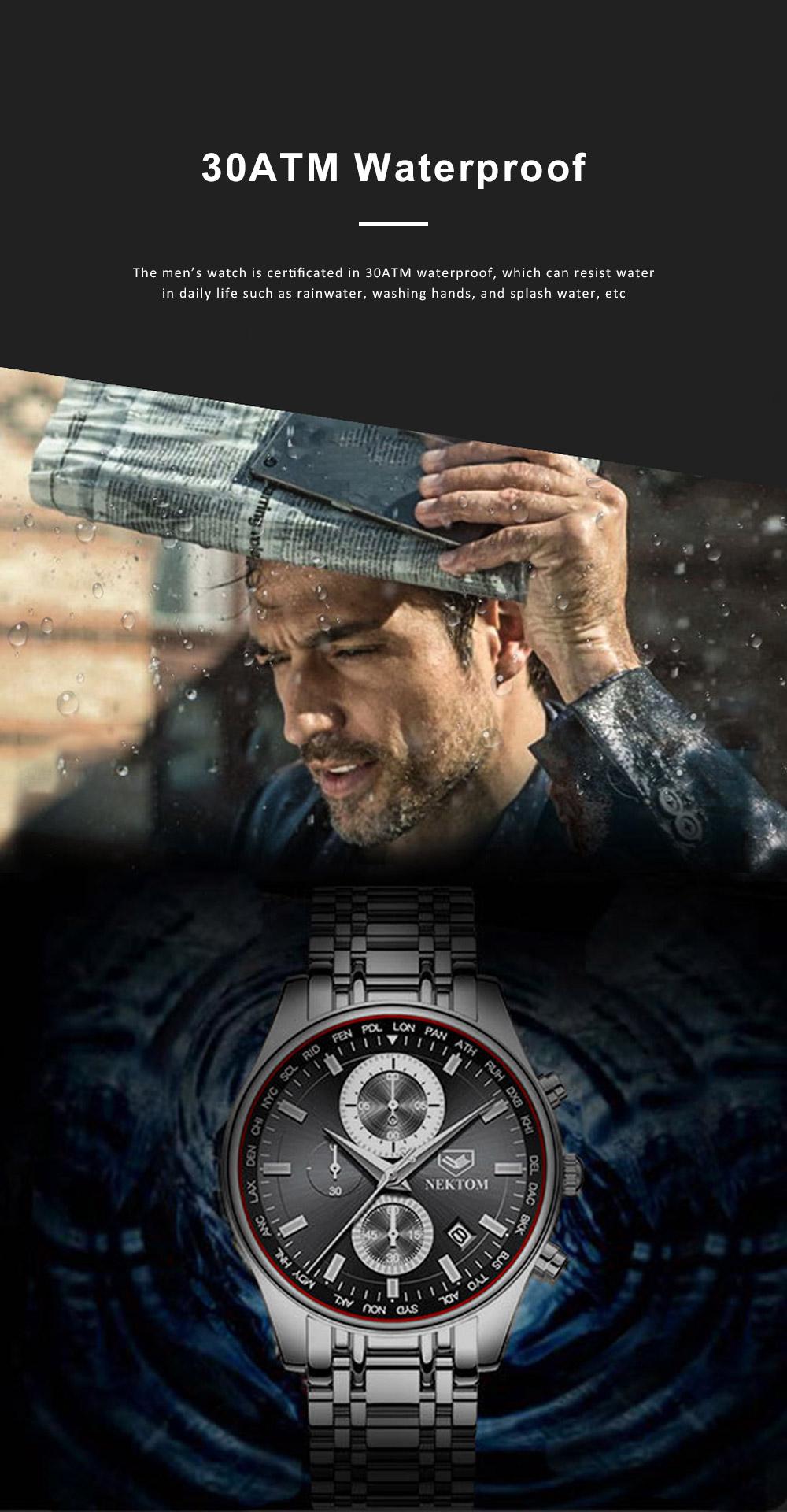 Men's Quartz Watch Multifunctional Waterproof Wrist Watch Scratch Proof Fashion Accessory Watch 2