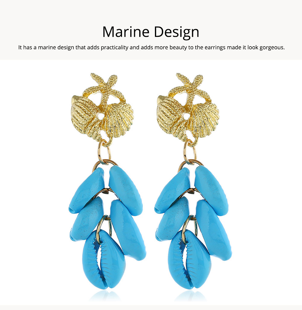 Cluster Shell Earrings for Women Marine Top Decoration Environment Friendly Color Shells Ear Stud, Western Style Pendant 2