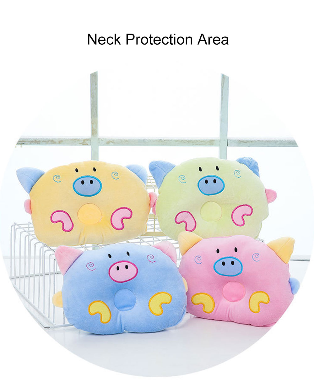 Cute Carton Pig Model Embroidery Anti-Roll Newborn Baby Pillow Soft Breathable Fluff Infant Prevent Flat Head Pillow 7