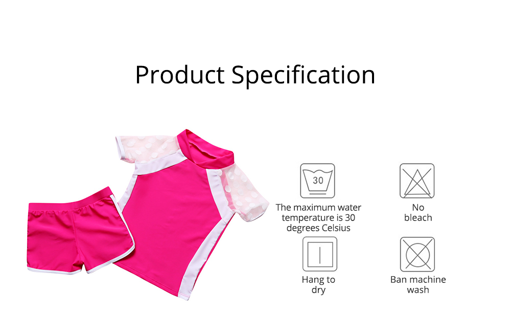Two-piece Swimming Suit for Girls Wave Point Net Yarn Classic Color Separate Short-sleeve Swimwear 6