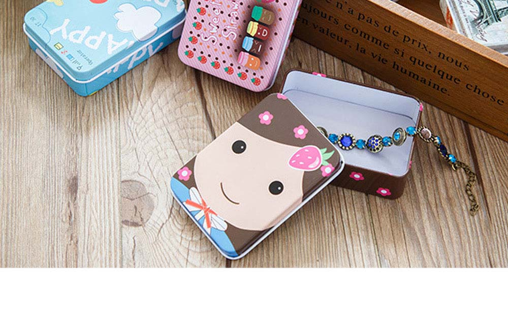 Cute Carton Painting Portable Mini Tinplate Storage Box, Breaking-proof Rust-proof Iron Jewelry Candy Small Object Storing Case 7