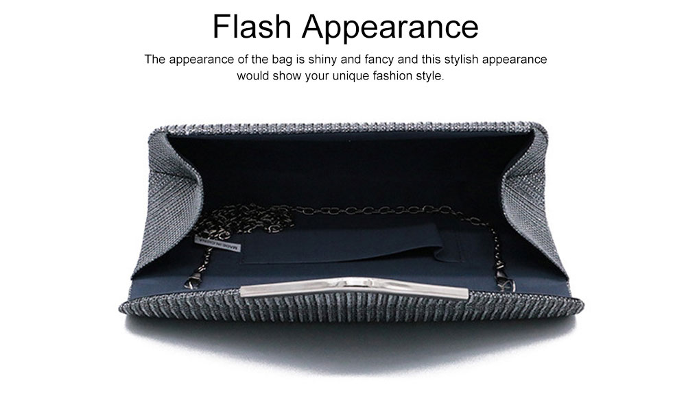 Fancy Elegance Flash Ladies Shoulder Evening Bag Soft Polyester Socialite Hand Bag Cosmetic for Women 6