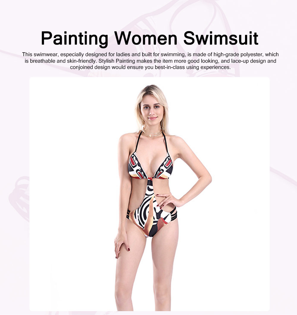 Elegant Minimalist Painting Women Separates Swimsuit Bikini, Skin-friendly Lace-up Conjoined Swimwear for Ladies 0