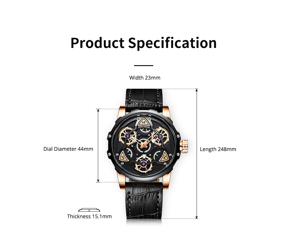Men's Mechanical Watch Japanese Movement Business Quartz Watch with Gear Gyro Leather Watch Band 8