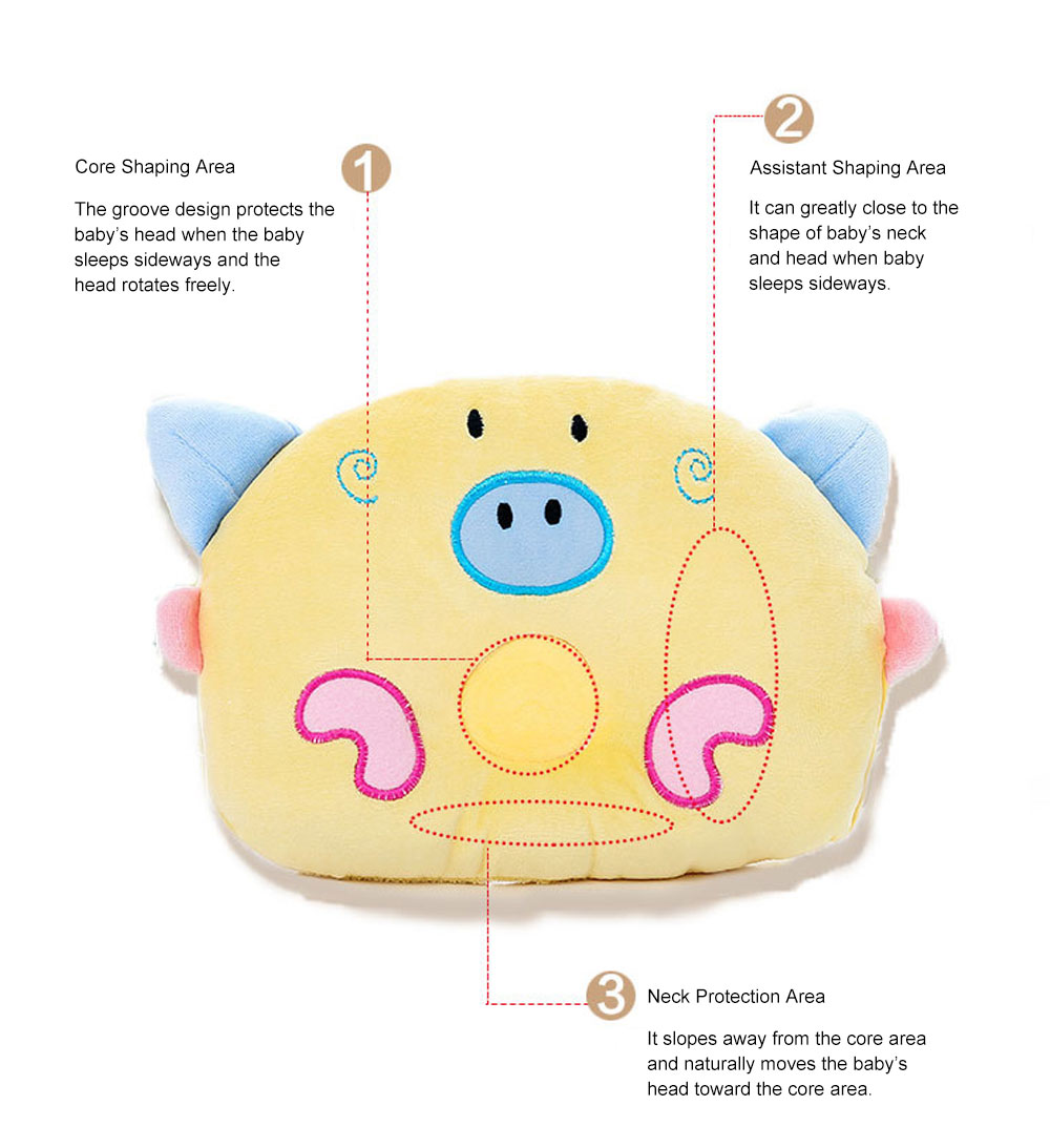 Cute Carton Pig Model Embroidery Anti-Roll Newborn Baby Pillow Soft Breathable Fluff Infant Prevent Flat Head Pillow 6
