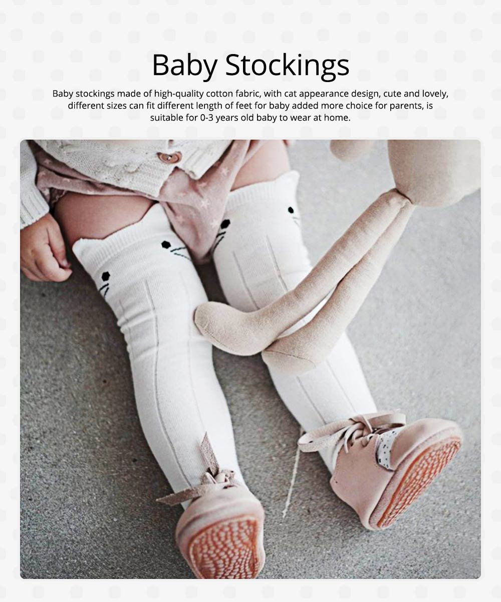 Baby Stockings for 0-3 Years Old Gril, Cute Appearance Pure Color Optional Cotton Fabric Breathable and Skin-friendly Socks 0