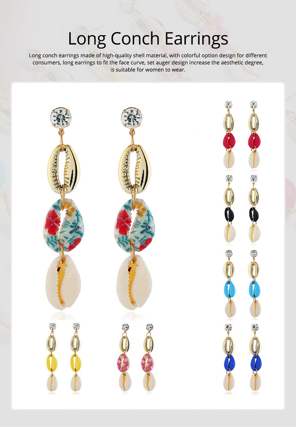 Long Conch Earrings for Women Colorful Option Set Auger Design Western Style Multilayer Colored Shell Stud Earring 0