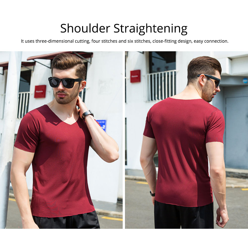 Summer Quick-drying Ice Silk T-shirt for Men, Men's Short Sleeve Leisure Self-cultivation V-neck Quick-dry Undercoat 3