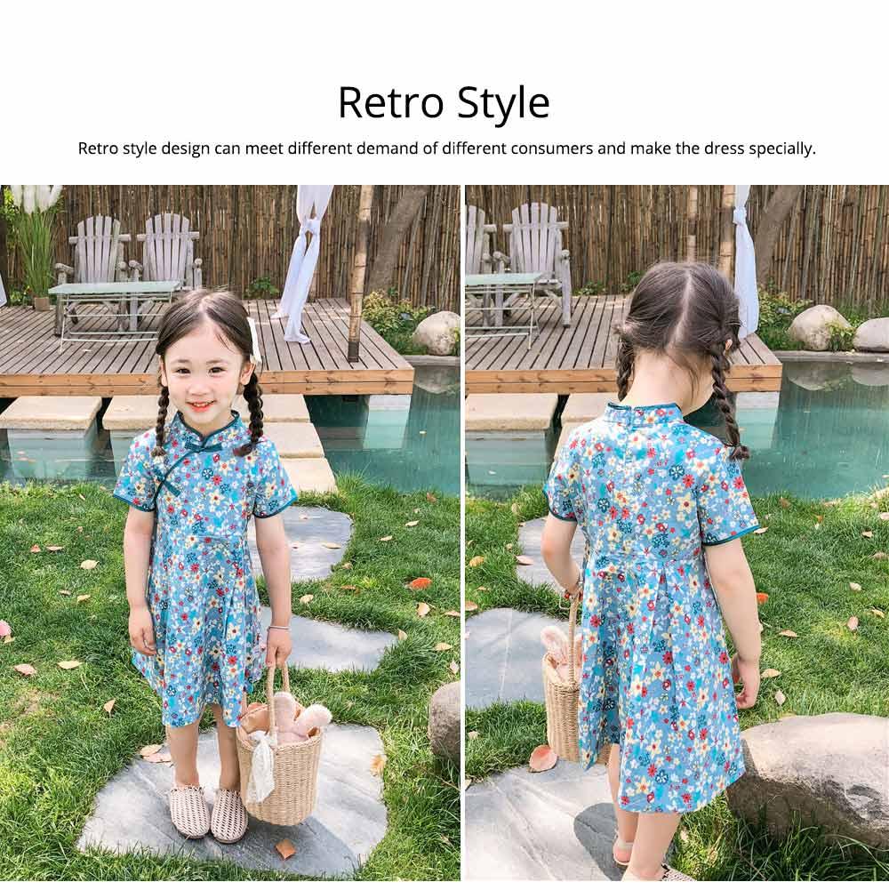 Girls Cheongsam Floral Print Retro Style Short-sleeve Skin-friendly Breathable One-piece Dress Summer 3