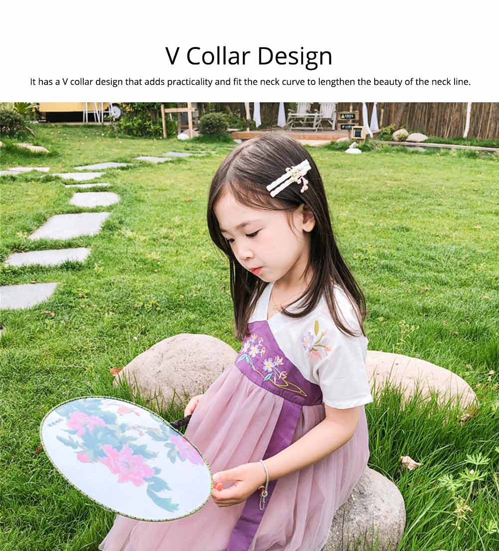 Han Chinese Clothing for Girls V Collar Flower Adornment Ribbon Chinese Characteristics Skin-friendly and Comfortable Dress 2