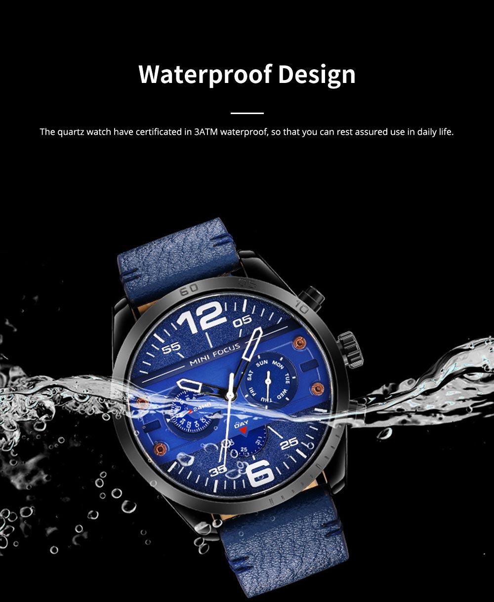 Mechanical Style Men's Quartz Watch Waterproof Businessman Watch Fashion Accessory 3 Dial Plates 6 Pointers Wrist Watch 1